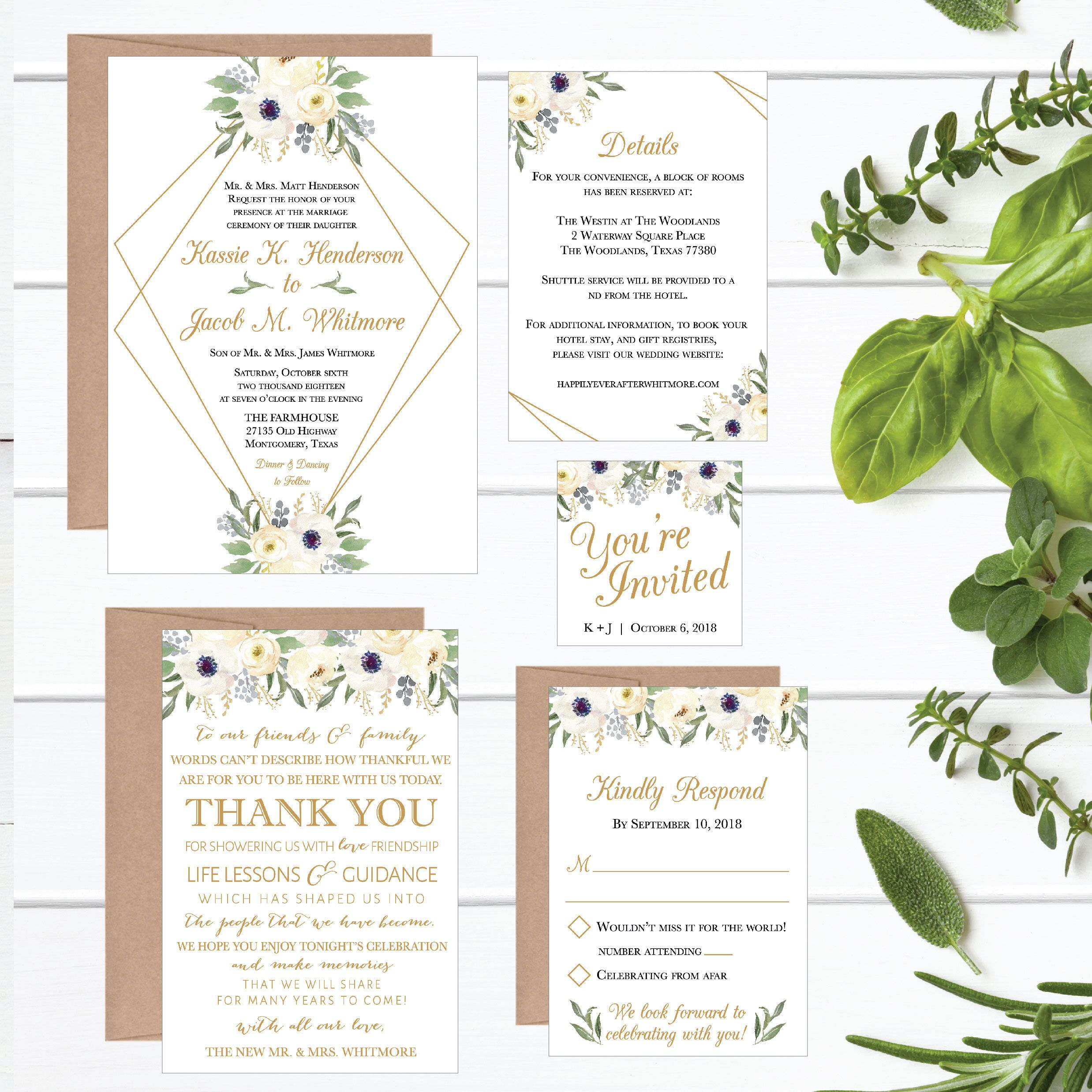 Modern Geometric Floral Wedding Invitation Template White Gold Printable Invite Suite Editable