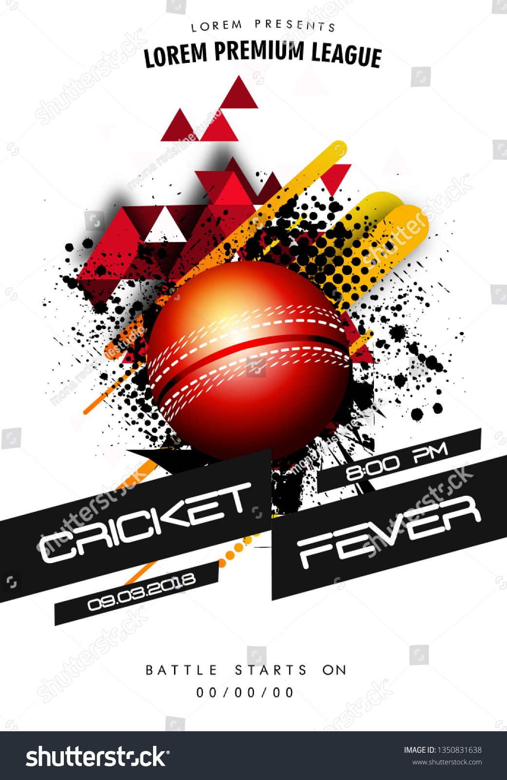 Cricket Championship header or banner design with illustration of realistic fiery ball illustration of bcricket championship sports