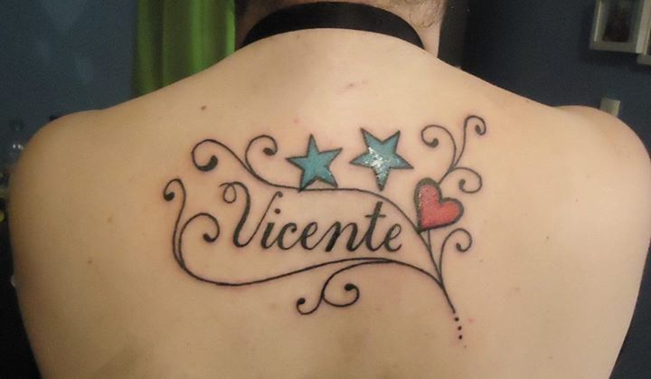 Nombre De Hijo Con Estrellas Firuletes Y Corazón Tatuajes De