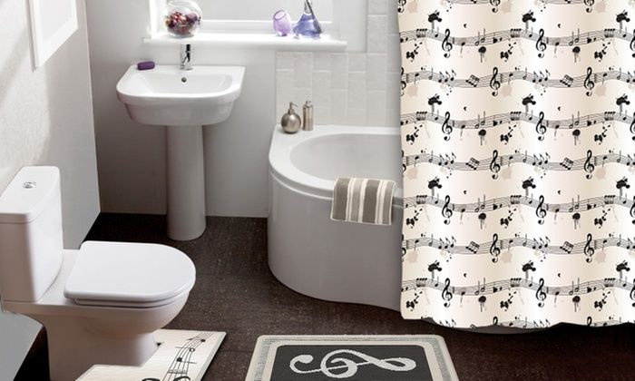 Sheet Music 15 Piece Shower Curtain And Bath Rug Set Matching