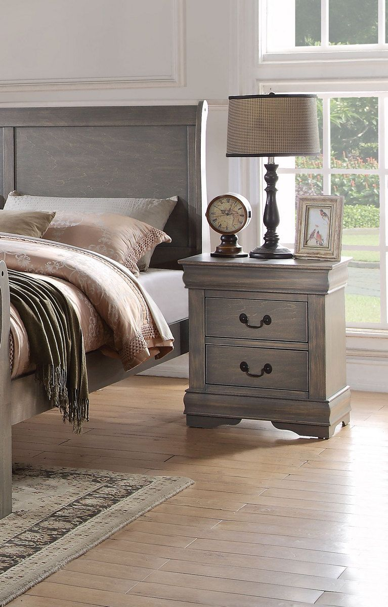 Best Louis Philippe Nightstand In Antique Gray Acme Furniture 400 x 300