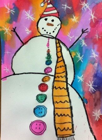 Bonhomme De Neige Aquarelle Et Pastel Gras Winter Art Lesson