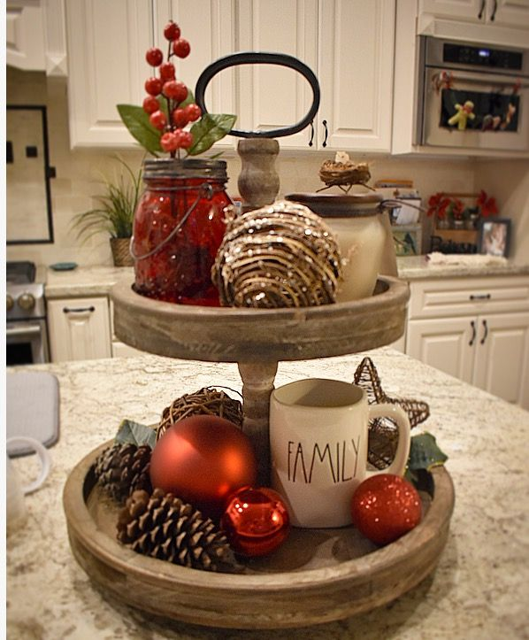 Two Tiered Tray For Christmas Tray Decor Christmas Christmas Kitchen Decor Christmas Decorations Rustic