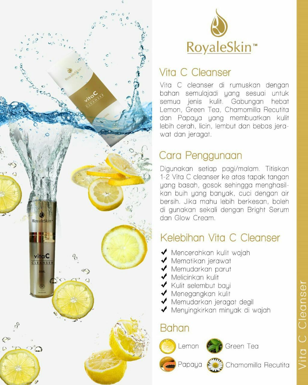 Vitamin C Cleanser face by Royaleskin  Price: RM65.00 Promo price: RM55.00