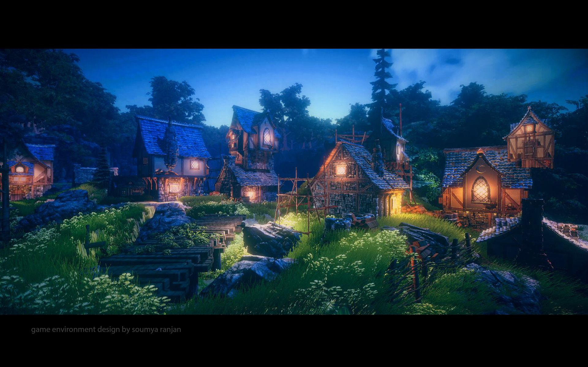 Artstation Fantasy Medieval Village Soumya Ranjan Game Level Design Medieval Fantasy