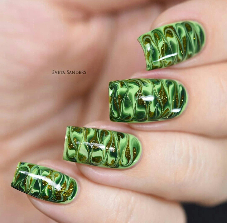 Dry Marble Nail Art, Needle Drag Nails