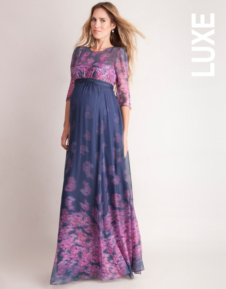 Fall in love with our most romantic maternity gown. Crafted in silk chiffon  with stunning digitally printed impressionist florals in navy blue   pink 367ab9fe748