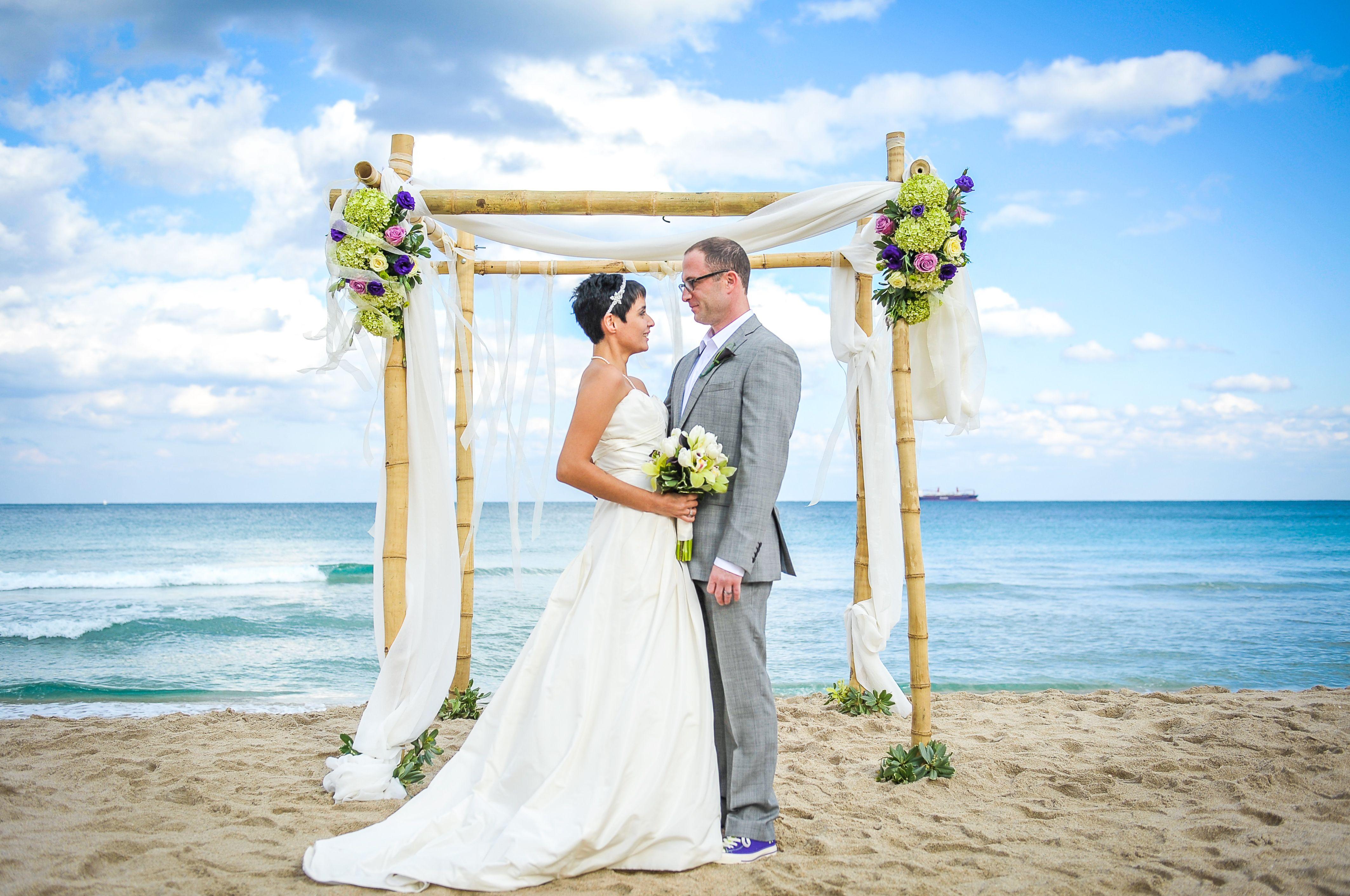 Wedding alter at a beach wedding.