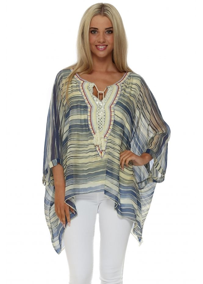 37acb5d0ab857 MADE IN ITALY Yellow   Blue Striped Silk Batwing Top
