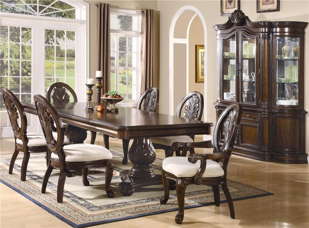 Tabitha Dark Cherry Traditional Formal Dining Room Furniture Set Formal Dining Room Sets Pedestal Dining Table Dining Room Furniture Sets