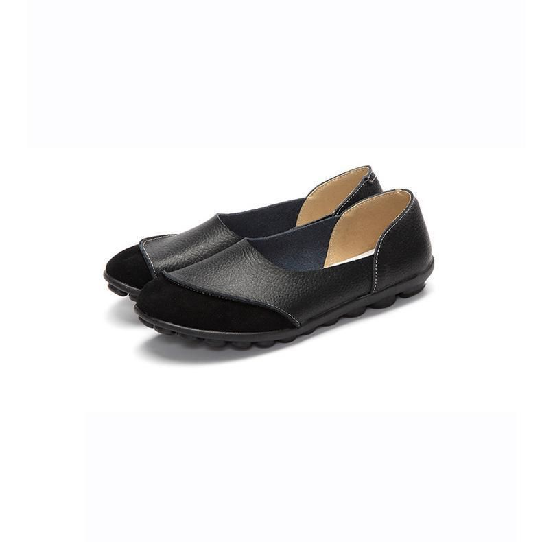 a6fad6300ba Women Large Size Split Artificial Leather Panel Flats Slip On - gifthershoes