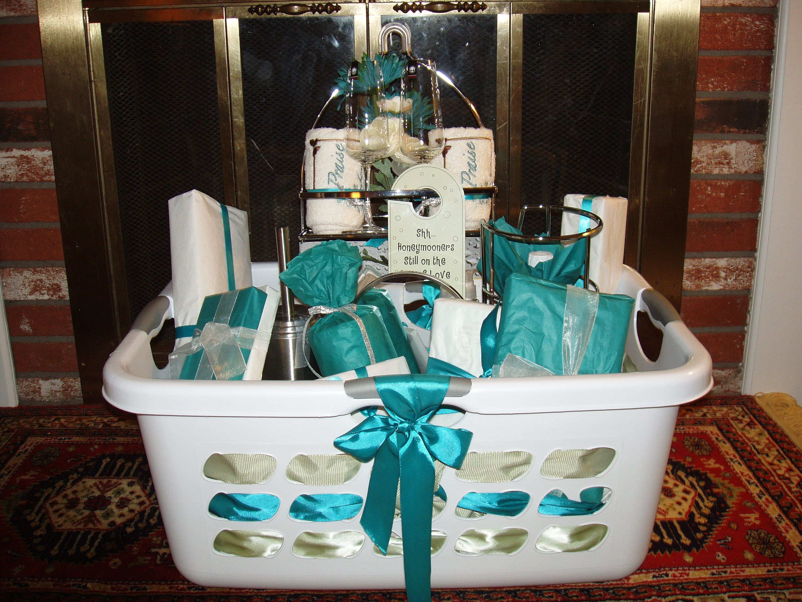 Bridal shower basket basket ideas pinterest bridal for Bathroom basket ideas for wedding