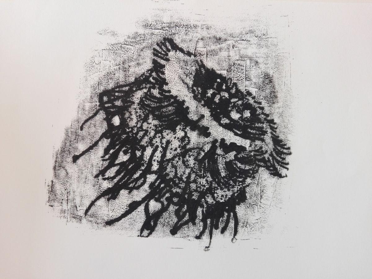 Medusa02 - Estampas & grabados,  29,7x42 cm ©2017 por Sandra Gálvez -                                              Papel, Animales, medusa, tinta, monotipo, grabado, papel, negro, animales, mar, agua