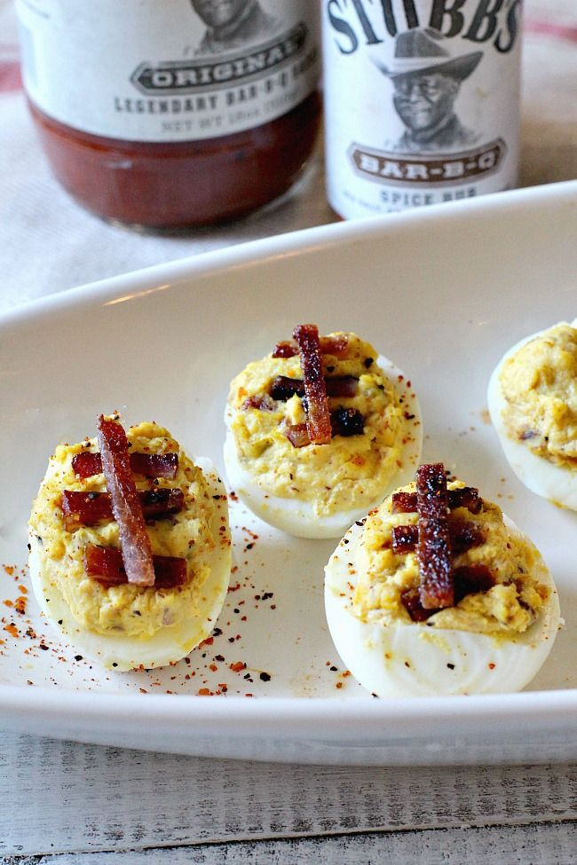 Bbq Bacon Sour Cream Deviled Eggs Stubbsbbqsauce Tailgate Food Recipes Bbq Bacon