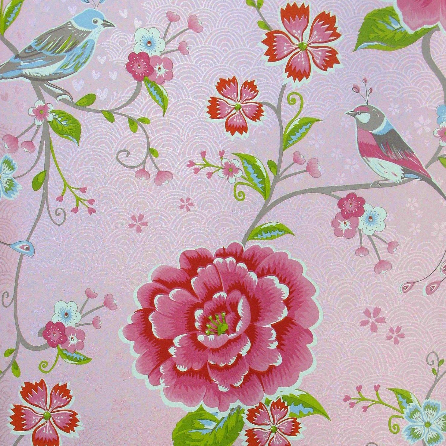 Pip Studio Behang Birds In Paradise Roze Behangnr 313010