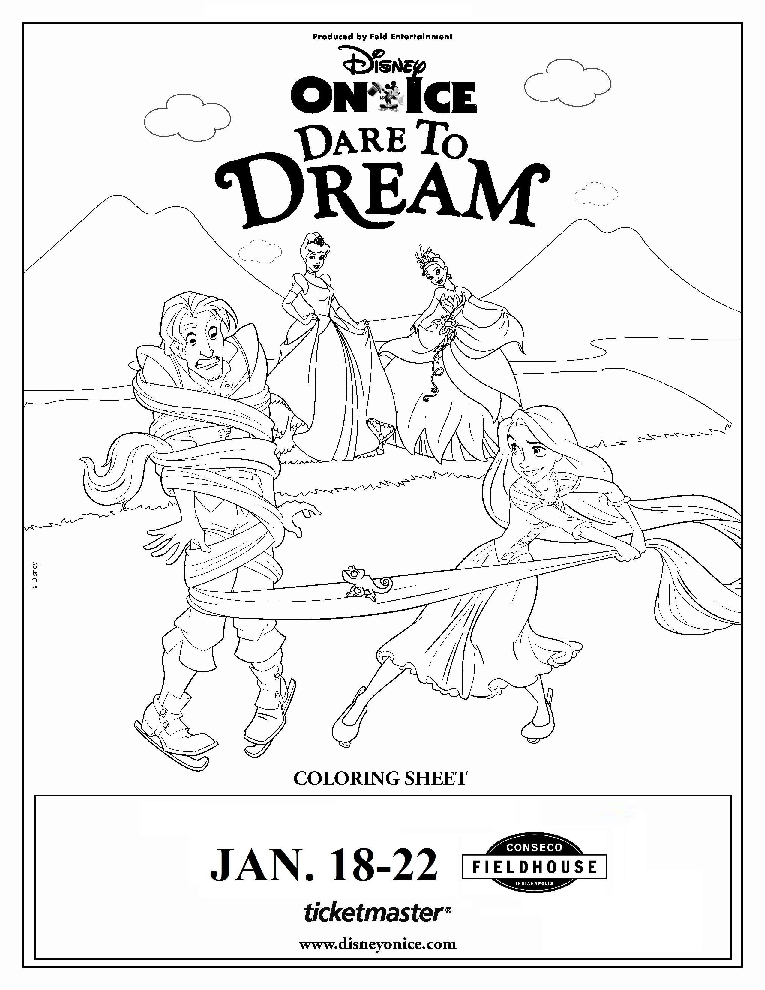 Disney On Ice Dare To Dream Poster Coloring Pages Disney On Ice Disney Princess Colors Disney Princess Coloring Pages