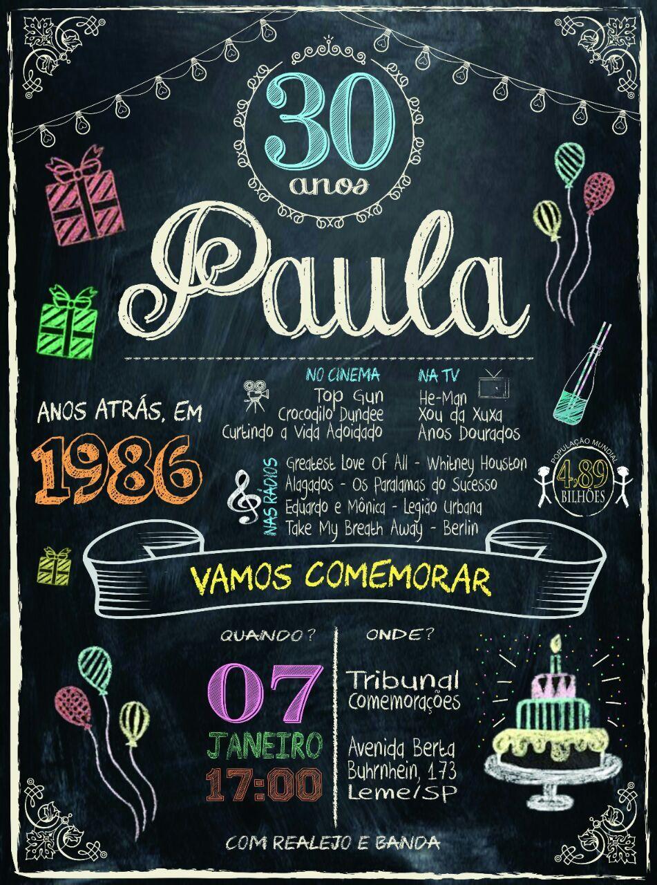 Convite Festa 30 Anos Convites Aniversário 30th Birthday