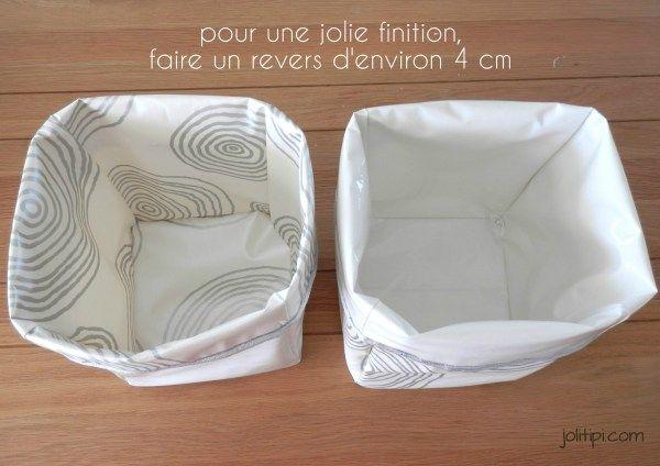 diy fabriquer des paniers de rangement r versibles en toile cir e tuto simplissime. Black Bedroom Furniture Sets. Home Design Ideas