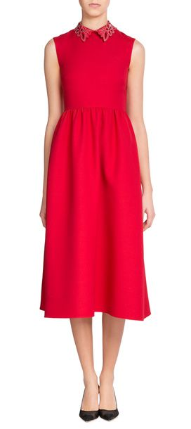 VALENTINO Wool-Silk Dress with Embellished Leather Collar #Stylebop