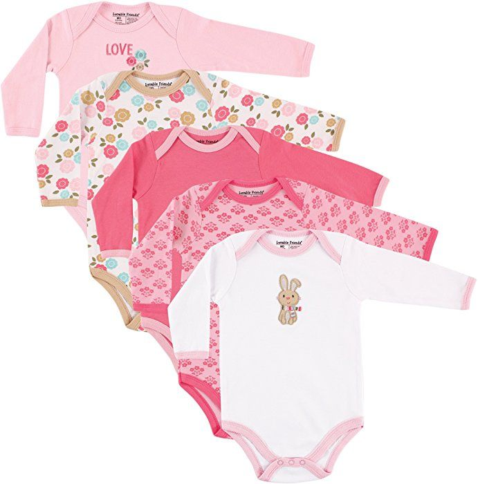 343ca716eec Amazon.com  Luvable Friends Baby Infant 5-Pack Long Sleeve Hanging Bodysuit