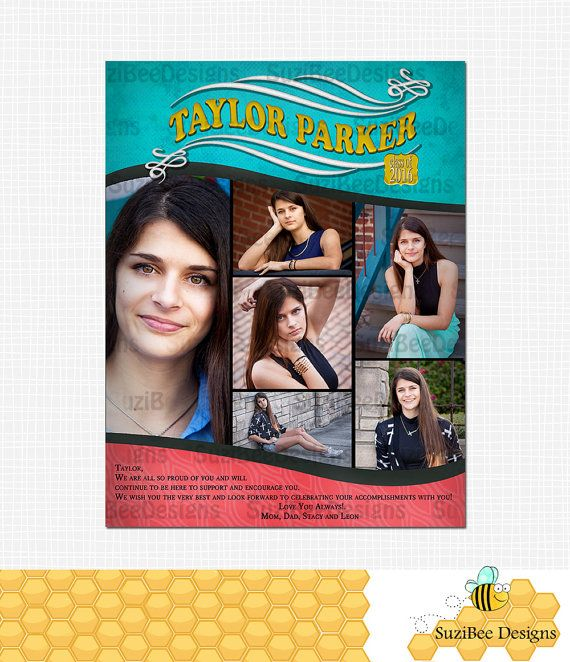 YEARBOOK AD TEMPLATE High School Senior Middle by SuziBeeDesigns ...