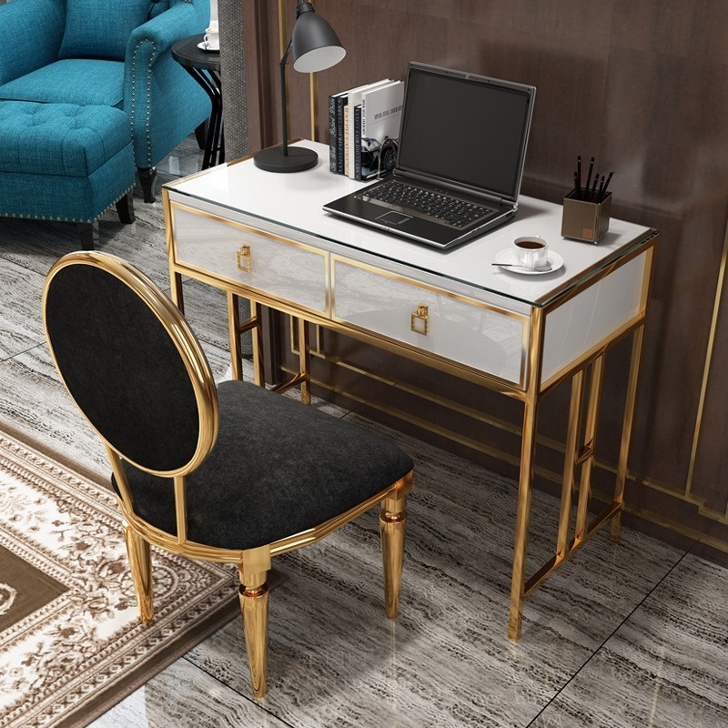Modern White Office Writing Desk Stylish Rectangle Computer Desk With Drawers Glass Top Gold Metal Glass Desk Office Desk With Drawers Stylish Desk