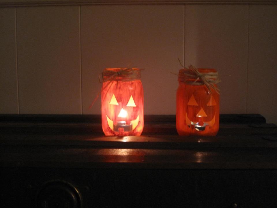 pumpkin lanterns- paint masons jars and put a candle inside