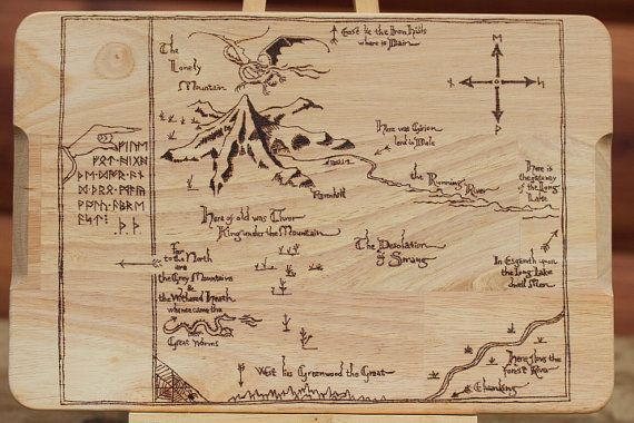 The Hobbit. Map of Erebor. Pyrography wooden by PyroAndGraphy
