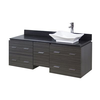 American Imaginations AI-1 Xena Quartz 60-in Wall Mount Vanity Set