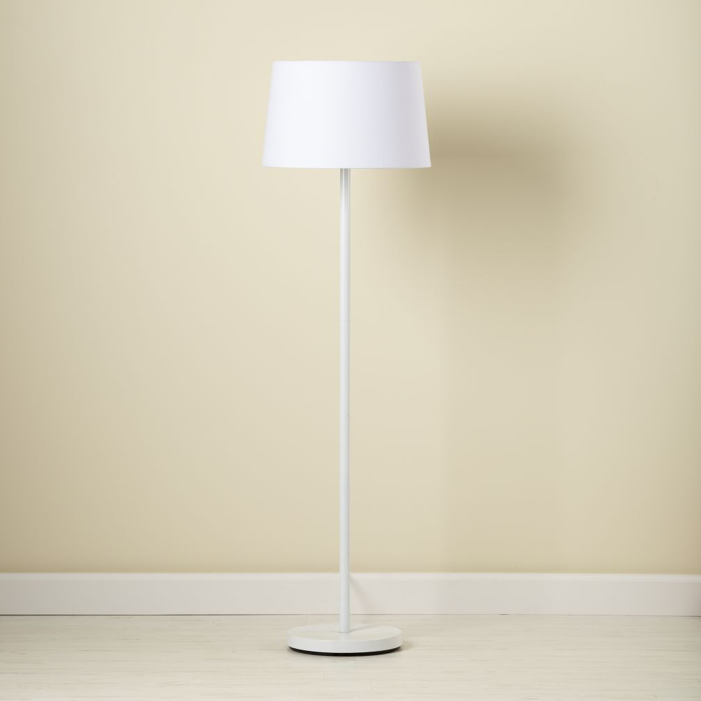 The unassuming style of this accent lamp helps ensure it will be shop kids floor lamps kids white nickel floor lamp base with white fabric shade with its understated easy to coordinate style this white floor lamp aloadofball Gallery