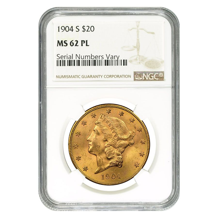 PCGS MS62 1904-S US Gold $20 Liberty Head Double Eagle