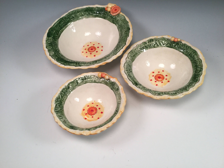 Nesting Bowls/pottery Bowl/pottery Bowl Set/kitchen Prep Bowls/handmade  Bowls