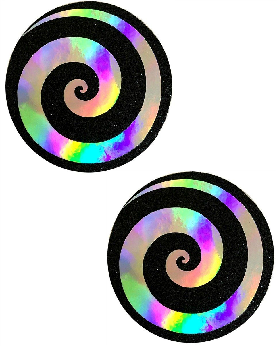 4a74419af5286 Care Bear Stare Holographic Spiral on Black Nipple Pasties Holographic