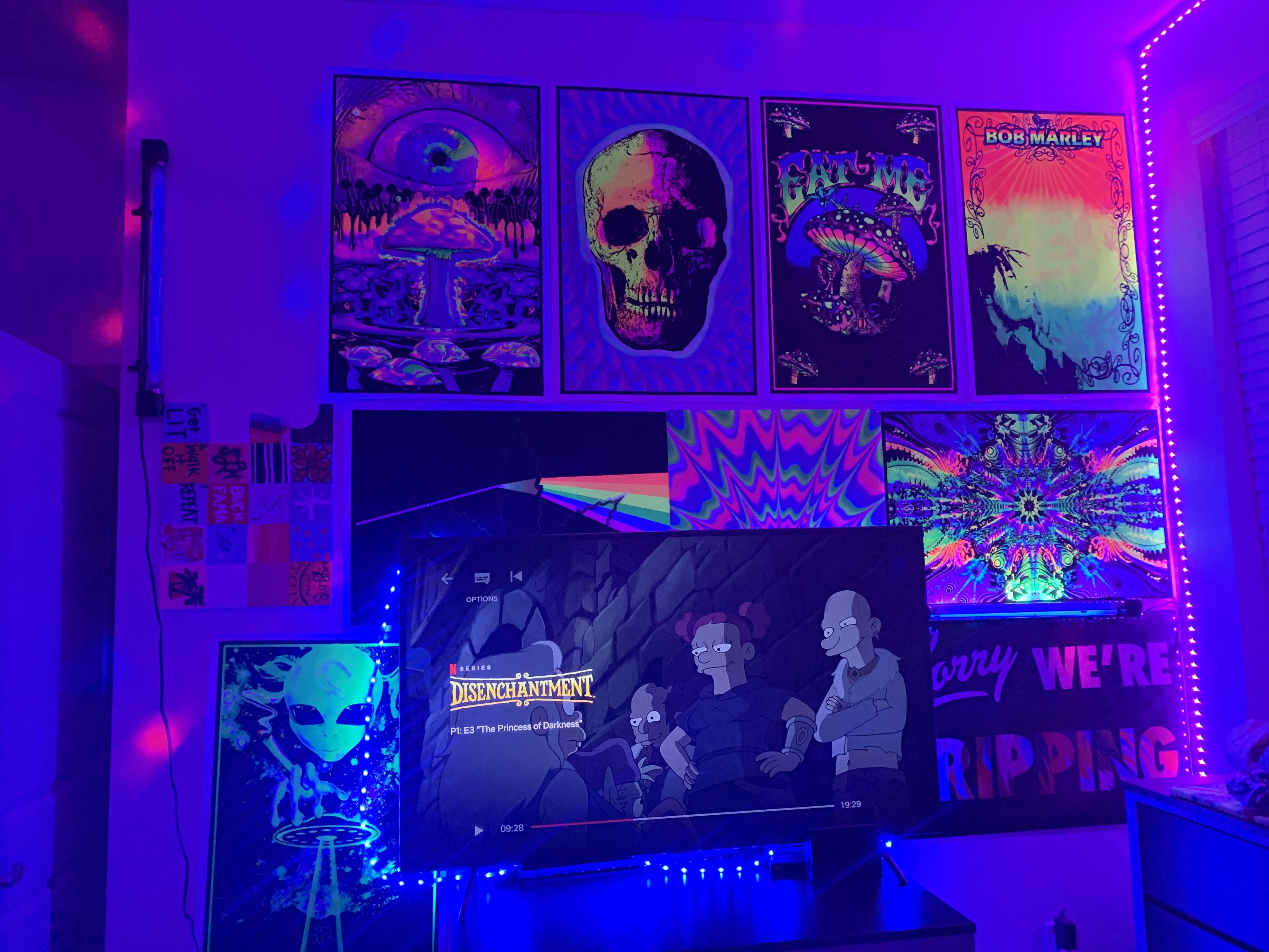 Trippy Bedroom Neon Room Neon Room Decor Black Light Room