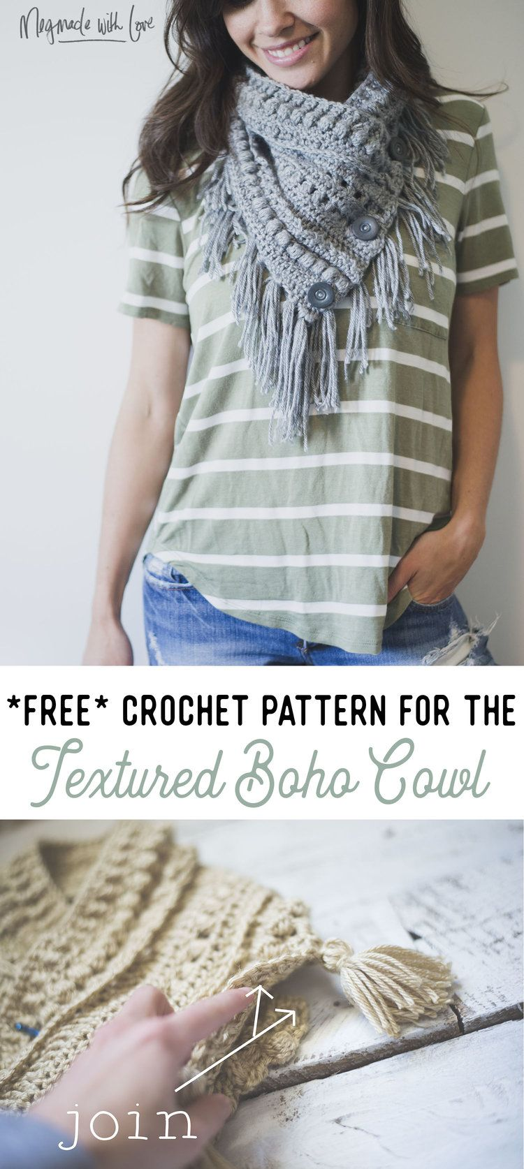Free Crochet Pattern for the Textured Boho Cowl | Crochet Blogger ...