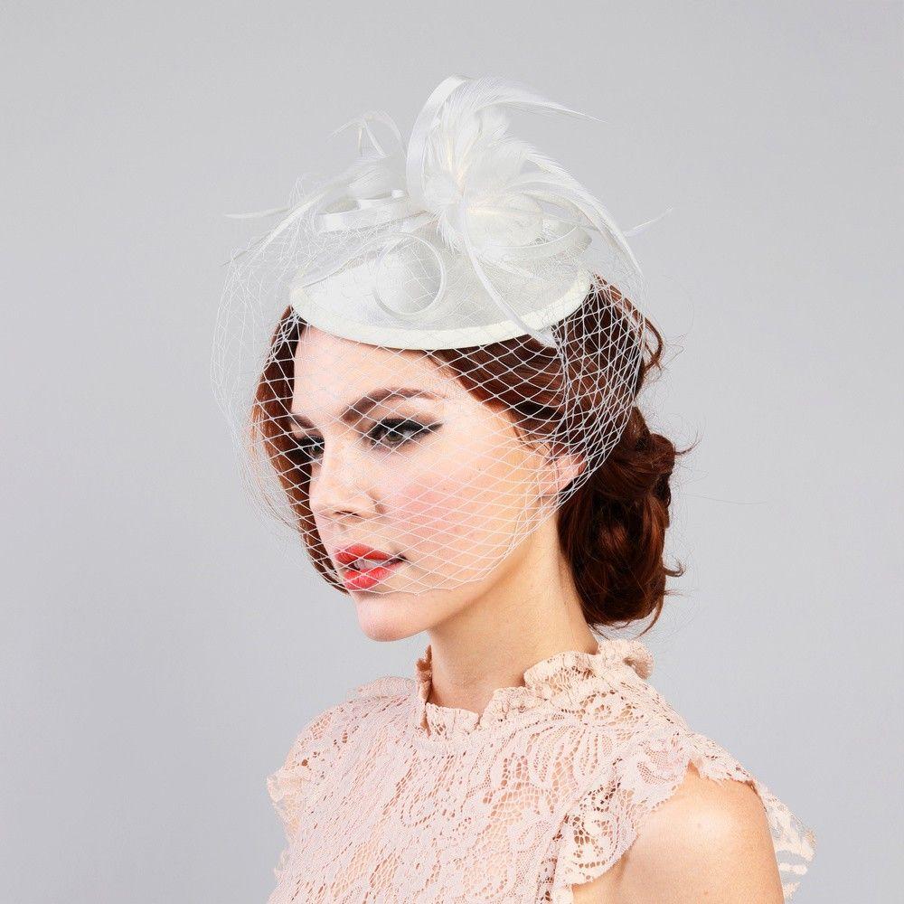 Retro Ladies 1920s Veil Fascinator Cocktail Hat Wedding Party Kentucky Derby