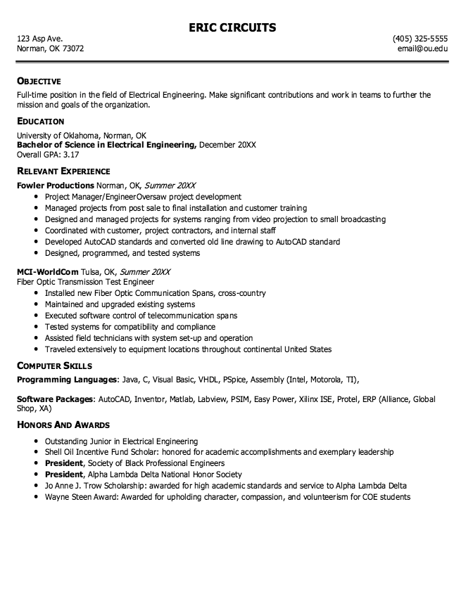 Electrical Engineering Resume - http://exampleresumecv.org ...