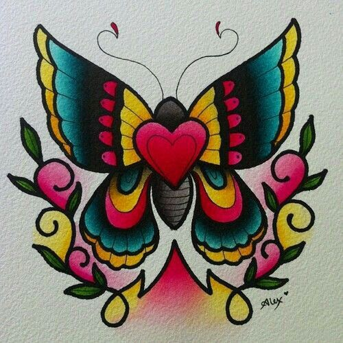 Traditional Butterfly Tattoo Flash: Girly Traditional Butterfly