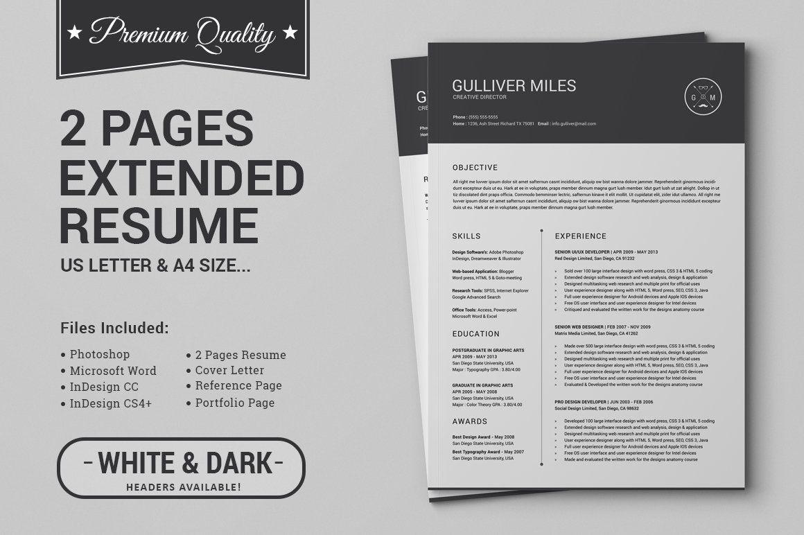 2 Pages Resume Cv Extended Pack Vorlagen Lebenslauf Lebenslauf Beispiele The Words
