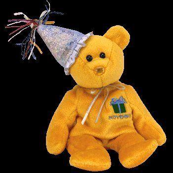 TY Beanie Baby - NOVEMBER the Teddy Birthday Bear (w  hat) by Ty 8138219eacbf