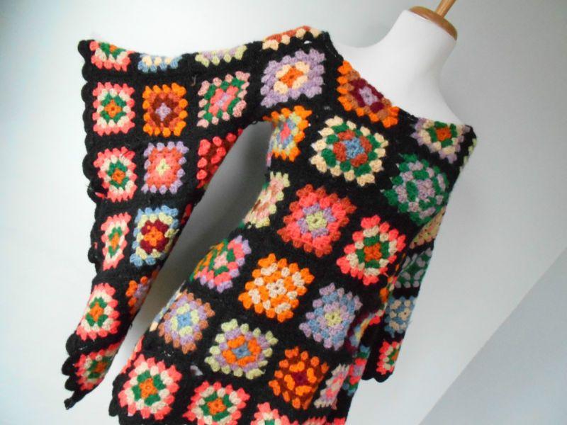 VTG 70s BoHo Hippi Crochet GRANNY SQUARE Angel Slv AFGHAN Mini ...