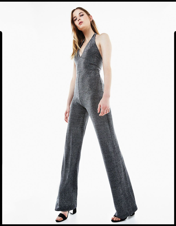 15f2550af98 Long halter neck metallic shimmer jumpsuit - Party Looks - Bershka United  Kingdom