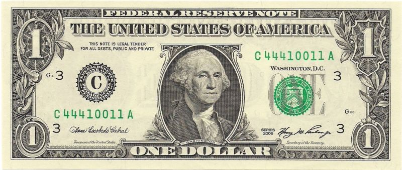 $1 Dollar Bill FRN Fancy Serial Number C44410011A UNCIRCULATED - http://coins.goshoppins.com/us-paper-money/1-dollar-bill-frn-fancy-serial-number-c44410011a-uncirculated/