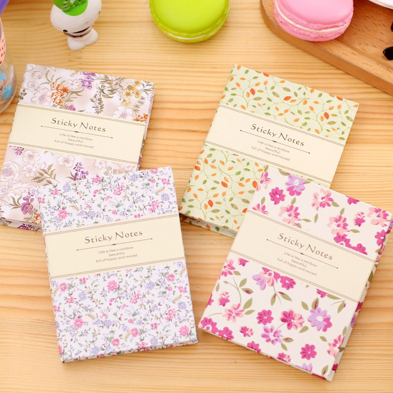 Elegant Fresh Floral Hard Cover Memo Pads Planner Sticker Student Stationery Sticky Notes Notepads