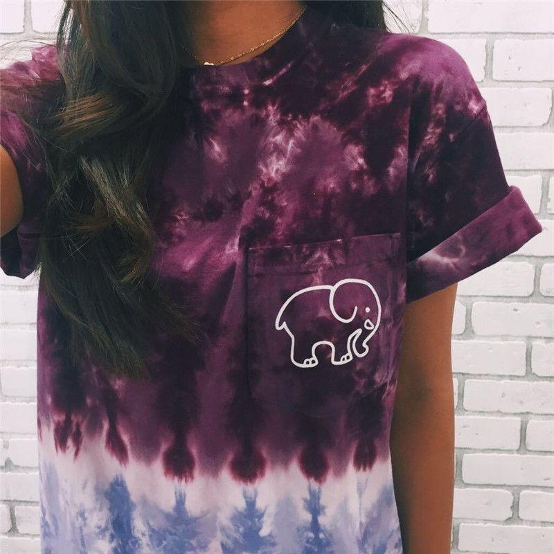 Tie Dye Gradient Elephant T Shirt - Purple - S   Easy, Shopping ...