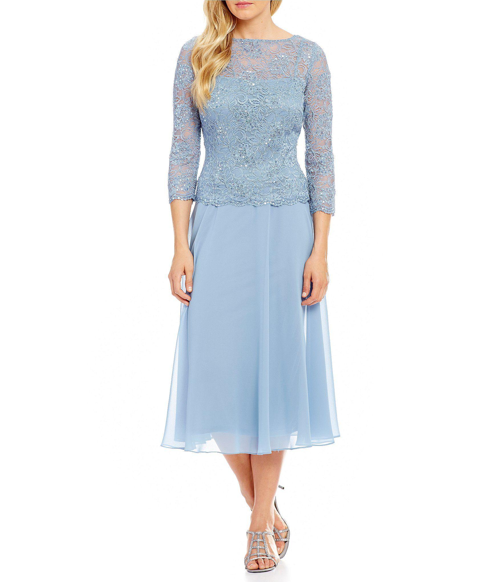 Emma Street Sequined Lace Mock 2-Piece Tea-Length Dress | Tea length ...