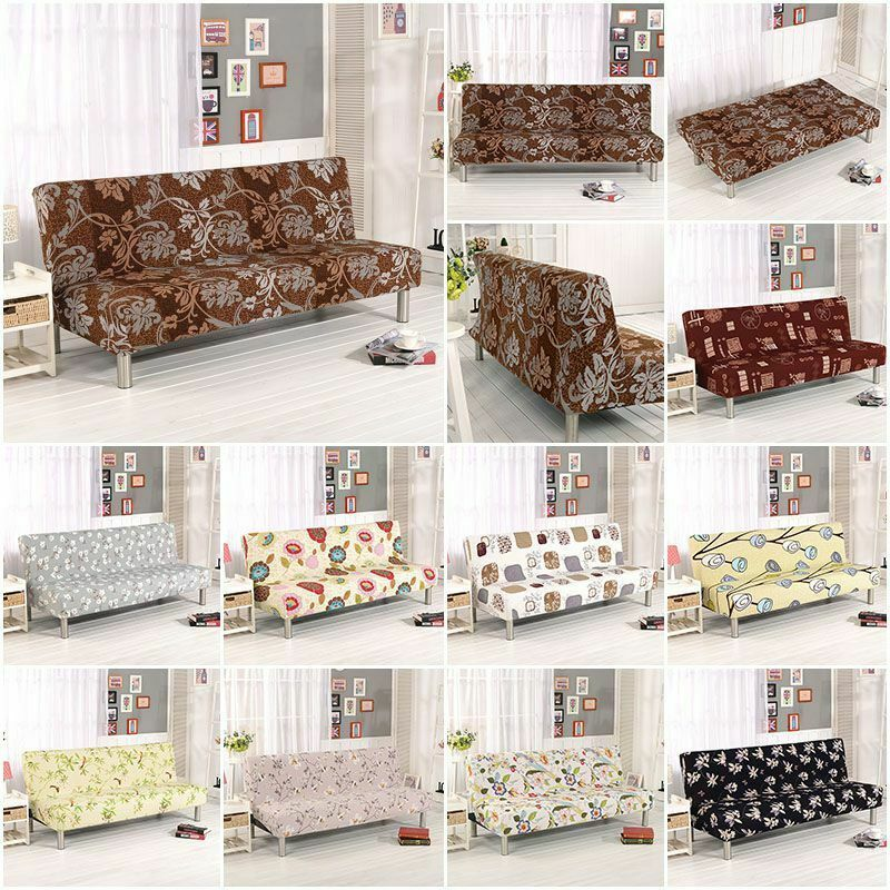 Stretch Armless Sofa Bed Cover Futon Slipcover Full Folding
