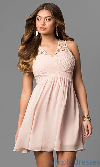 fb0163ee0c1 Shop short ruched graduation party dresses at Simply Dresses. Cheap v-neck  semi-formal chiffon dresses under  100 with lace backs.