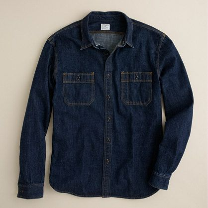 6fb799e0 J Crew - Selvedge Indigo Denim Shirt Inspired by vintage workwear from the  early 1900s,