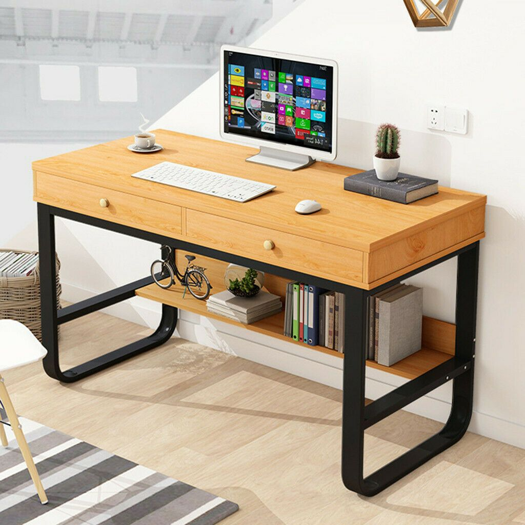 Wood Student Study Writing Computer Desk Ergonomic Design PC Laptop Table Drawer